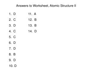 Answers to Worksheet, Atomic Structure II