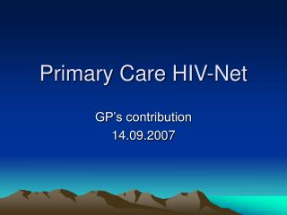 Primary Care HIV-Net