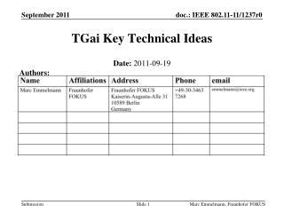 TGai  Key Technical Ideas