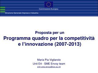 Proposta per un Programma quadro per la competitività  e l'innovazione (2007-2013)