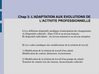 Chap 3: L�ADAPTATION AUX EVOLUTIONS DE L�ACTIVITE PROFESSIONNELLE