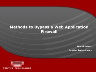 Methods to Bypass a Web Application Firewall