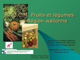 O.C.M. Fruits et légumes en Région wallonne
