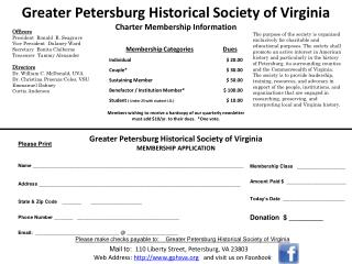 Greater Petersburg Historical  Society of Virginia Charter Membership  Information