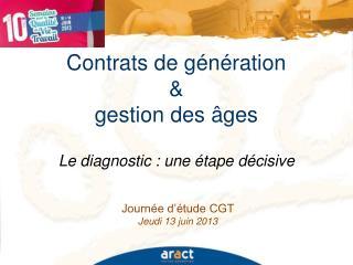 Contrats de génération  &  gestion des âges