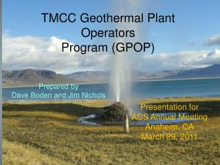 TMCC Geothermal Plant Operators Program (GPOP)