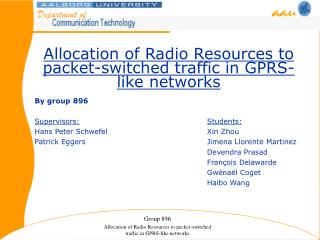 Allocation of Radio Resources to packet-switched traffic in GPRS-like networks