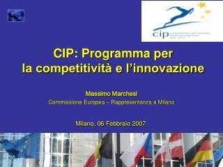 CIP: Programma per la competitività e l'innovazione