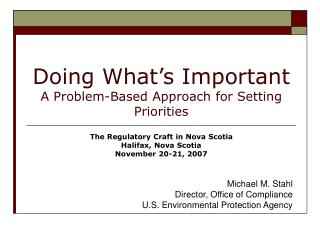 Doing What�s Important A Problem-Based Approach for Setting Priorities