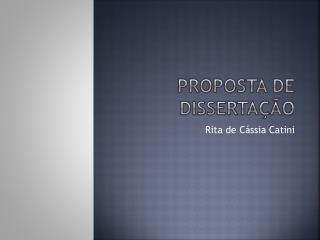 Proposta de Dissertação