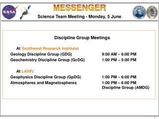 Science Team Meeting - Monday, 5 June
