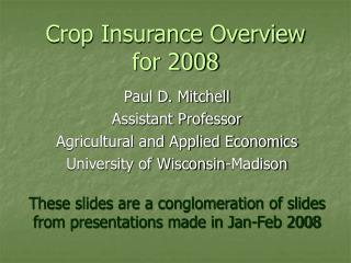 Crop Insurance Overview for 2008