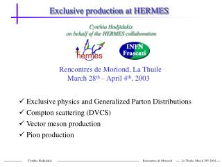 Exclusive production at HERMES