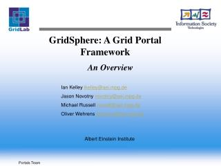 GridSphere: A Grid Portal Framework