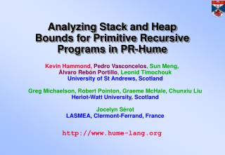 Analyzing Stack and Heap Bounds for Primitive Recursive Programs in PR-Hume