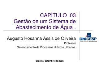 CAPÍTULO  03   Gestão de um Sistema de Abastecimento de Água .