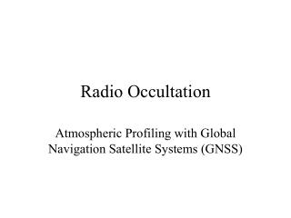 Radio Occultation