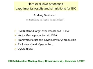 Hard exclusive processes -
