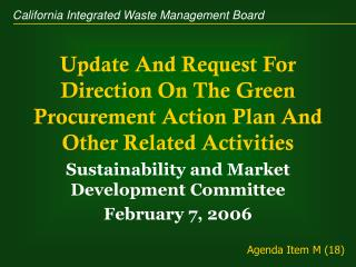 Update And Request For Direction On The Green Procurement Action Plan And Other Related Activities