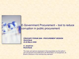 E-Government Procurement – tool to reduce corruption in public procurement