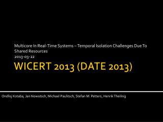 WICERT 2013 (DATE 2013)