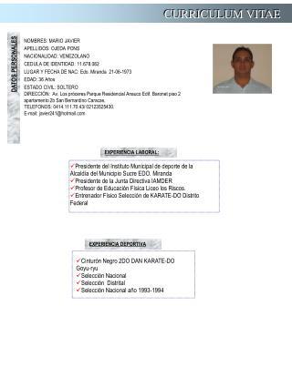 NOMBRES:  MARIO JAVIER APELLIDOS:  OJEDA PONS NACIONALIDAD:  VENEZOLANO