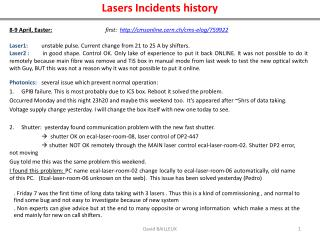Lasers Incidents history