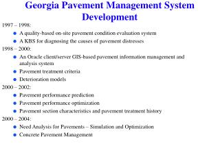 Georgia Pavement Management System Development