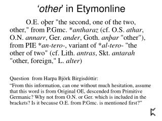 'other ' in Etymonline