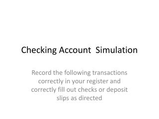 Checking Account  Simulation