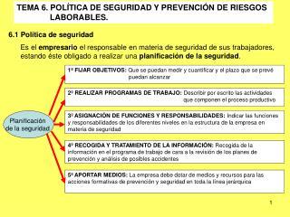 TEMA 6. POLÍTICA DE SEGURIDAD Y PREVENCIÓN DE RIESGOS                 LABORABLES.