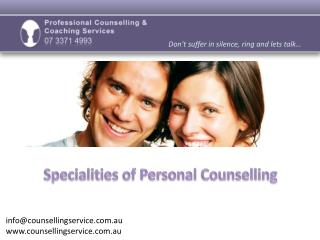 Proofessional Counselling & Coaching Services - Specialities