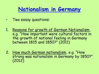german unification essay questions Italygermanyunificationessay - compare and contrast the italian and german unification essay vote to almost every adult male the irish question internal.