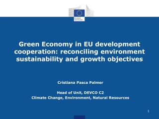 Cristiana Pasca Palmer Head of Unit, DEVCO C2 Climate Change, Environment, Natural Resources