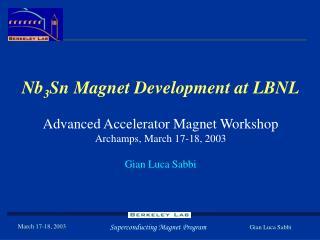 Nb 3 Sn Magnet Development at LBNL