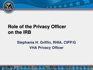 Role of the Privacy Officer  on the IRB