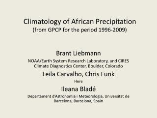 Climatology of African  Precipitation (from GPCP for the period 1996-2009)