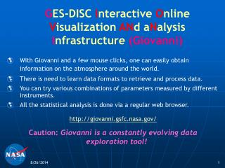 G ES-DISC  I nteractive  O nline V isualization AN d a N alysis  I nfrastructure  ( Giovanni)