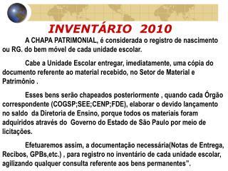 INVENTÁRIO  2010
