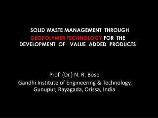 Prof. (Dr.) N. R. Bose
