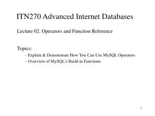 ITN270 Advanced Internet Databases