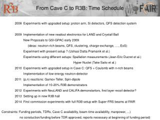 From Cave C to R3B: Time Schedule