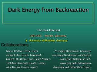 Dark Energy from Backreaction