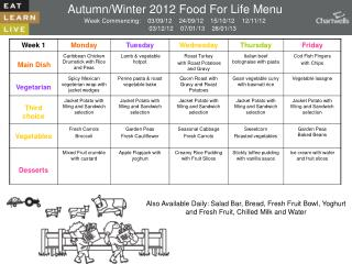 Autumn/Winter 2012 Food For Life Menu