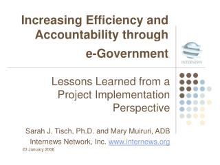 Increasing Efficiency and Accountability through  e-Government