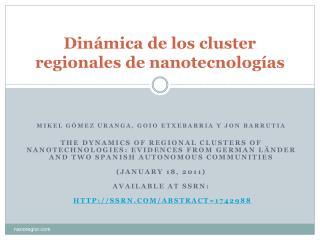 Dinámica de los  cluster  regionales de nanotecnologías