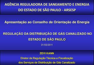 REGULAÇÃO DA DISTRIBUIÇÃO DE GÁS CANALIZADO NO ESTADO DE SÃO PAULO 31/03/2011