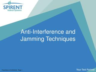 Anti-Interference and Jamming Techniques