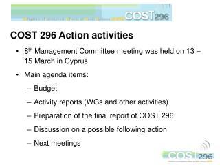 COST 296 Action activities