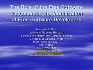 The Role of the Free Software Movement in the Mobilization of Free Software Developers